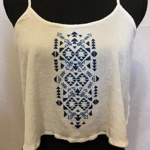 Forever 21 Tops - White Crop top with blue Aztec Print